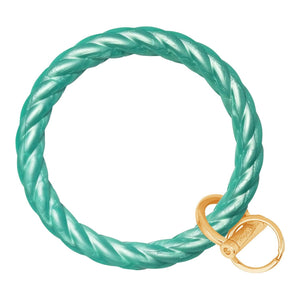 Twisted Bangle & Babe Bracelet Key Ring Twist - Marbled Sea Green Gold