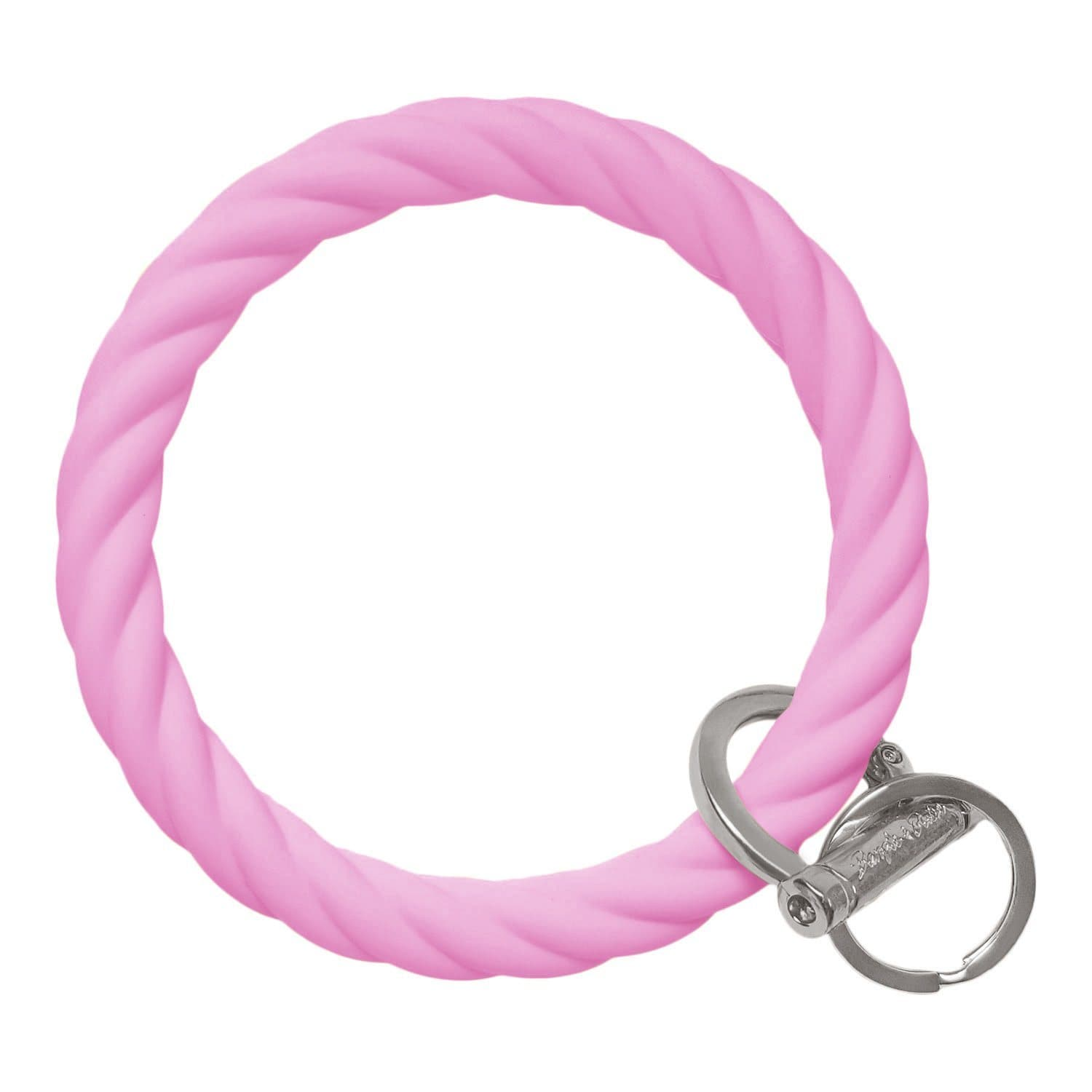 Twisted Bangle & Babe Bracelet Key Ring Twist - Bright Pink Silver
