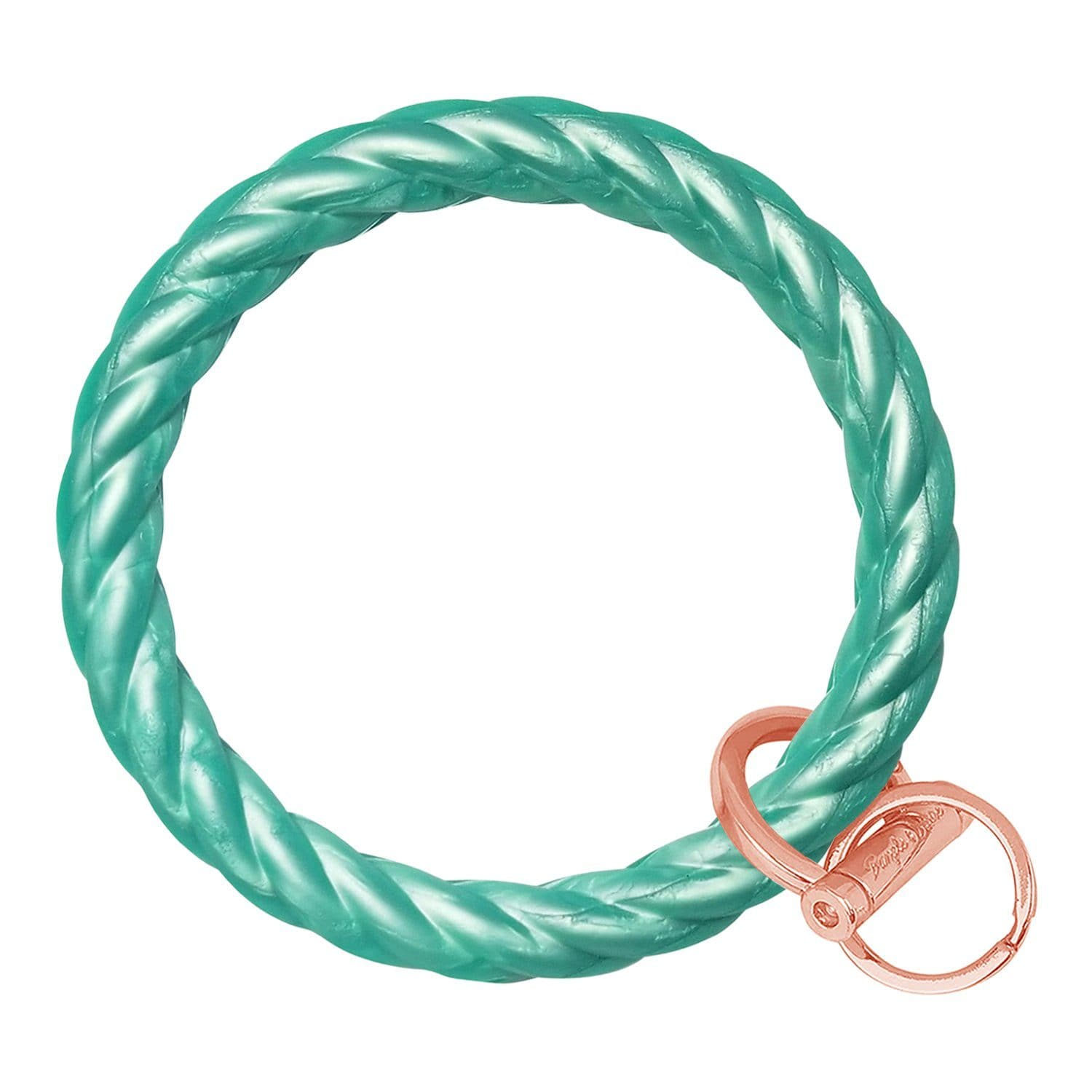 Twisted Bangle & Babe Bracelet Key Ring Twist - Marbled Sea Green Rose Gold