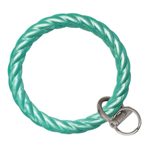 Twisted Bangle & Babe Bracelet Key Ring Twist - Marbled Sea Green Silver