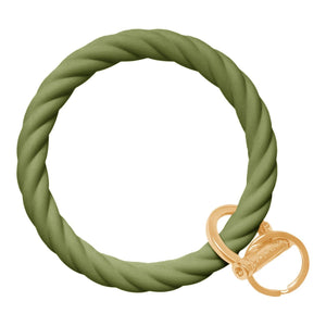 Twisted Bangle & Babe Bracelet Key Ring Twist - Army Green Gold