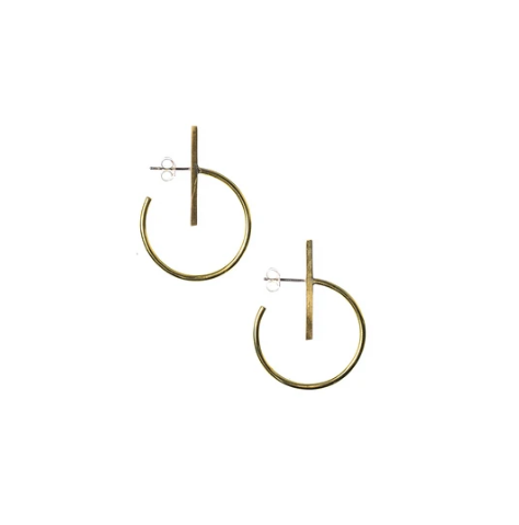 Small Lined Circle Hoops