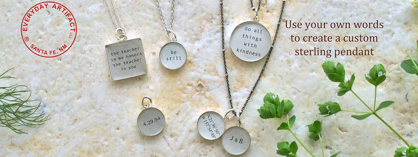 Everyday artifact personlized sterling silver pendants custom everyday artifact personlized sterling silver pendants custom made using your own words aloadofball Image collections