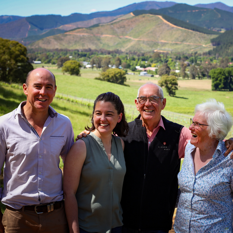 the Holm family of Ringer Reef vineyard, winery and cellar door, Porepunkah