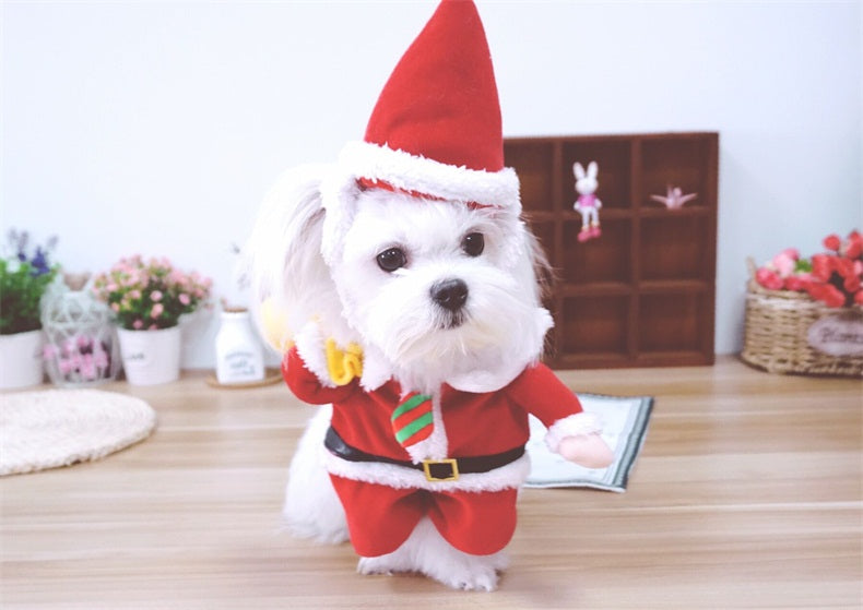dog cat christmas costumes santa claus cosplay suit