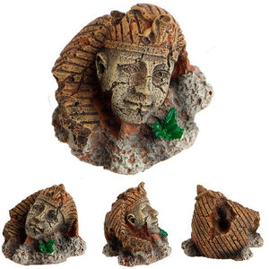 Fish Tank Decor Exotic Environments Ancient Realistic Stone Head Ruin Aquarium Ornament