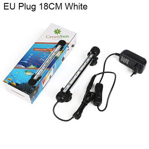 Aquarium Fish Tank 9/12/15/21 LED Light Blue/White 18/28/38/48CM Bar Submersible Waterproof Clip Lamp Decor EU Plug