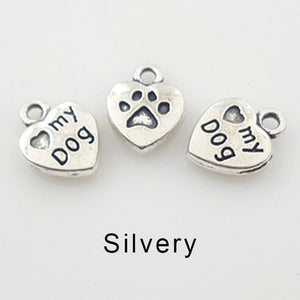 Heart Shape Love My Dog With Paw Charms