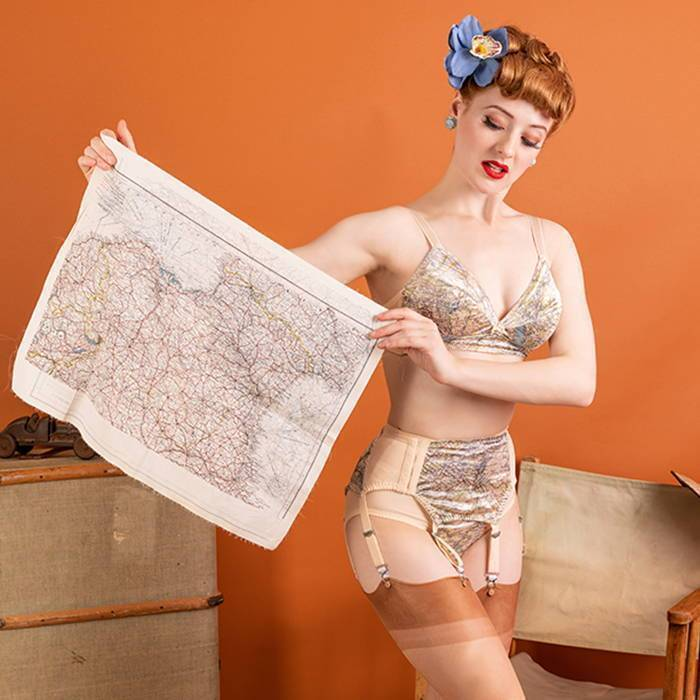 New! 1940s Map Print Lingerie