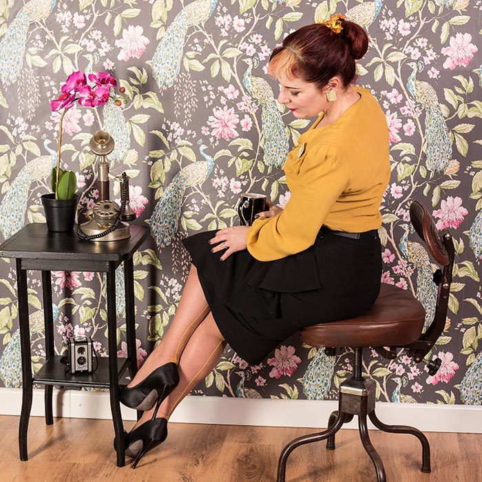 Seamed Stockings | Mustard Yellow Seamed Stockings