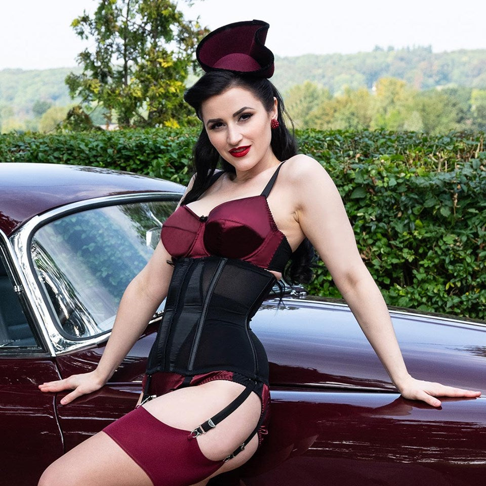 deep claret vintage inspired lingerie and seamed stockings