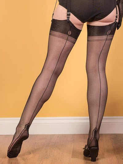 "Fully Fashioned Stockings Empire Heel H2029 What Katie Did FF Stockings Black / Small (4'11"" - 5'3"")"