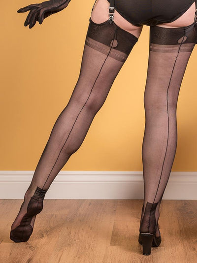 "Fully Fashioned Stockings Havana H2038 What Katie Did FF Stockings Black / Small (4'11"" - 5'3"")"