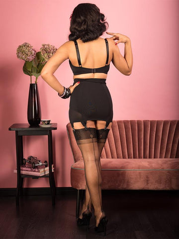 "Fully Fashioned Stockings Point Heel H2033 What Katie Did FF Stockings Black / Small (4'11"" - 5'3"")"