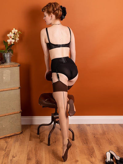 Glamour Cuban Heel Stockings Ch/Coffee H2074 What Katie Did Seamed Stockings Small Medium (5ft 1 to 5ft 7 110-145lbs)