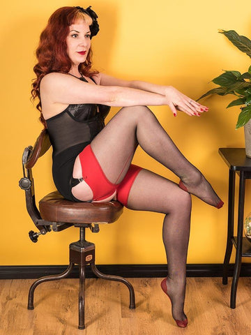 Seamed Stockings Glamour Black/Red H2067 What Katie Did Seamed Stockings Small Medium (5ft 1 to 5ft 7 110-145lbs)