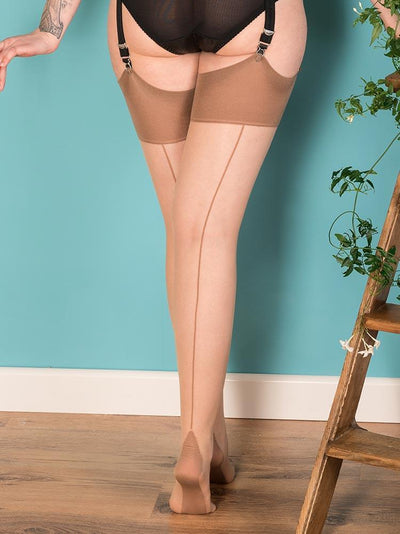 Seamed Stockings Latte Glamour H2040 What Katie Did Seamed Stockings Small Medium (5ft 1 to 5ft 7 110-145lbs)