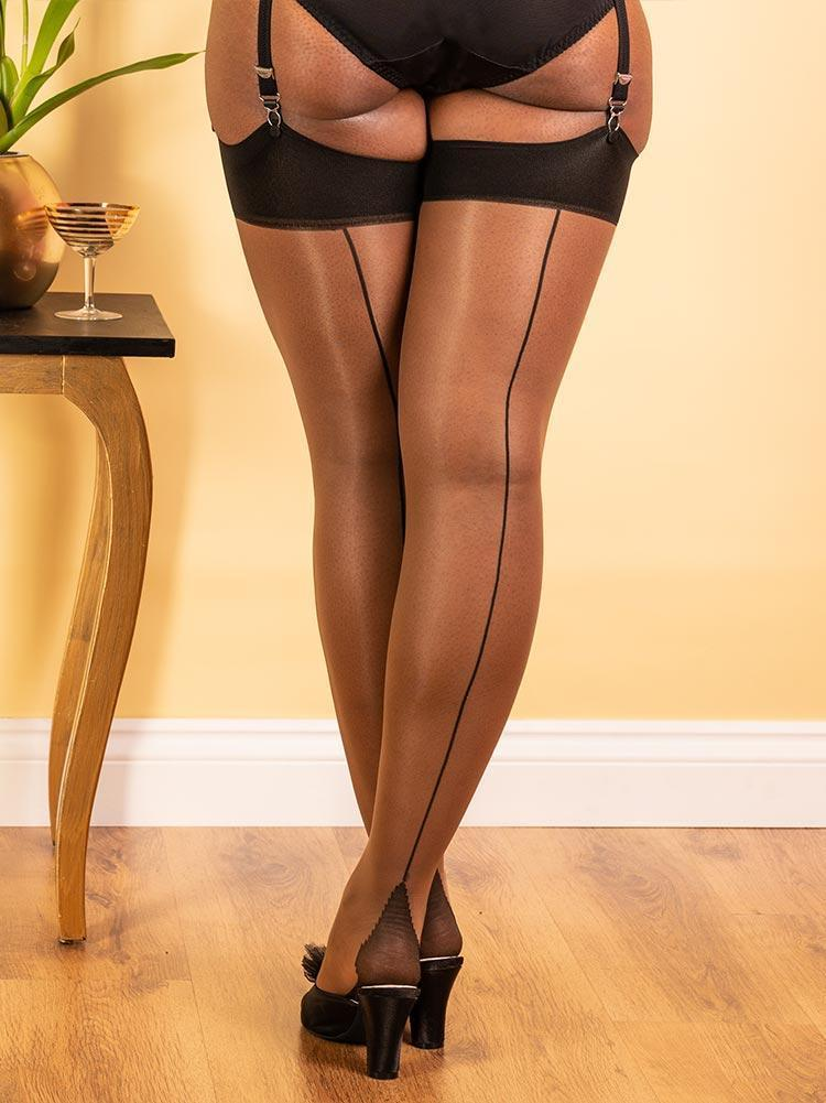 Seamed Stockings Nutmeg Black Glamour H2053 What Katie Did Seamed Stockings Small Medium (5ft 1 to 5ft 7 110-145lbs)