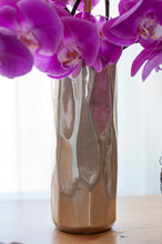 Six-Stemmed Purple Cut Phalaenopis Bouquet in Silk of Ivory & Old Rose Porcelain Vase
