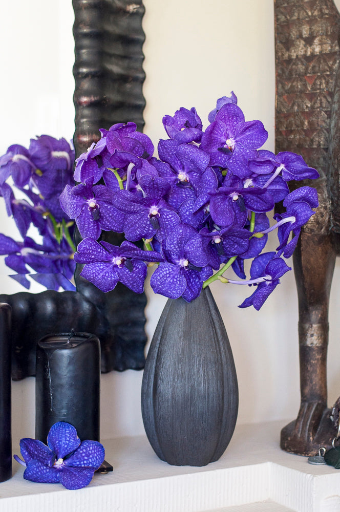 Blue Purple Vanda - 5 Stems arranged in Bahari Porcelain Metalic Finish Vase