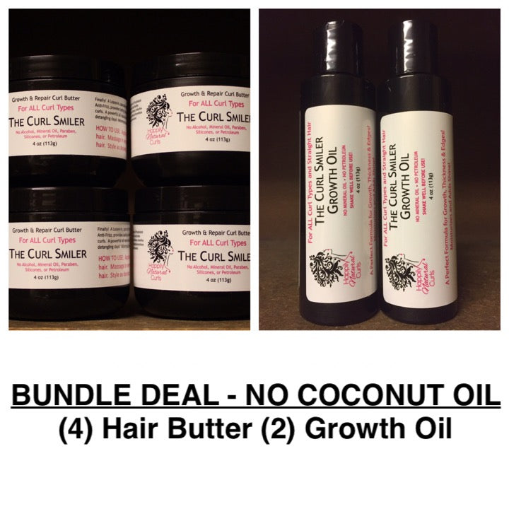 BUNDLE - NO COCONUT OIL - (4) Hair Butter + (2) Growth Oil (almond oil is an ingredient)