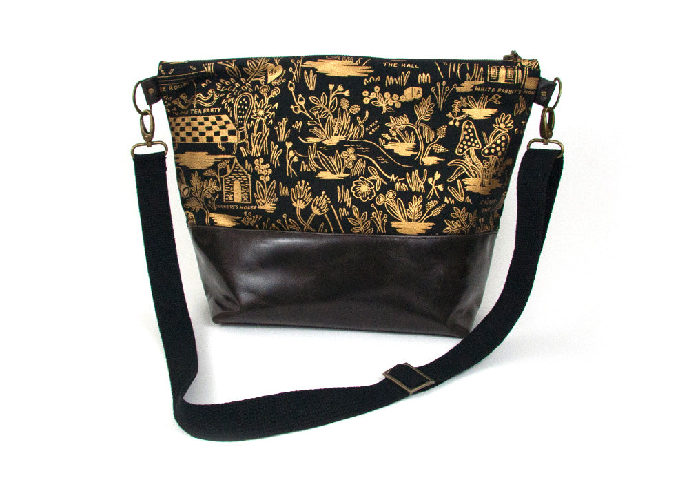 Crossbody Bag - Wonderland Black & Gold, Plum/Grey Base