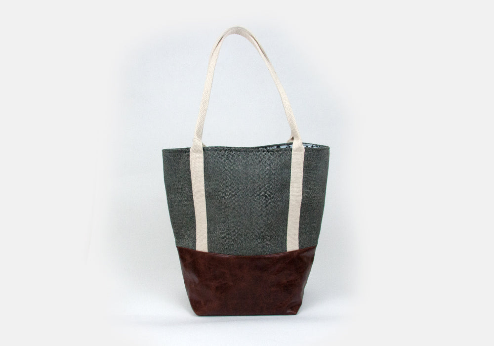 Large Tote Bag - Wool & Mahogany