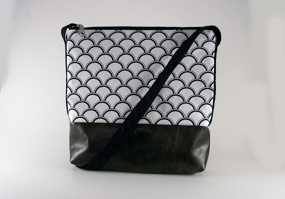 Small Crossbody Bag - Black Shells & Dark Grey Leather