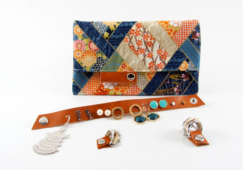 Jewelry Travel Kit - Blue Japanese Motif