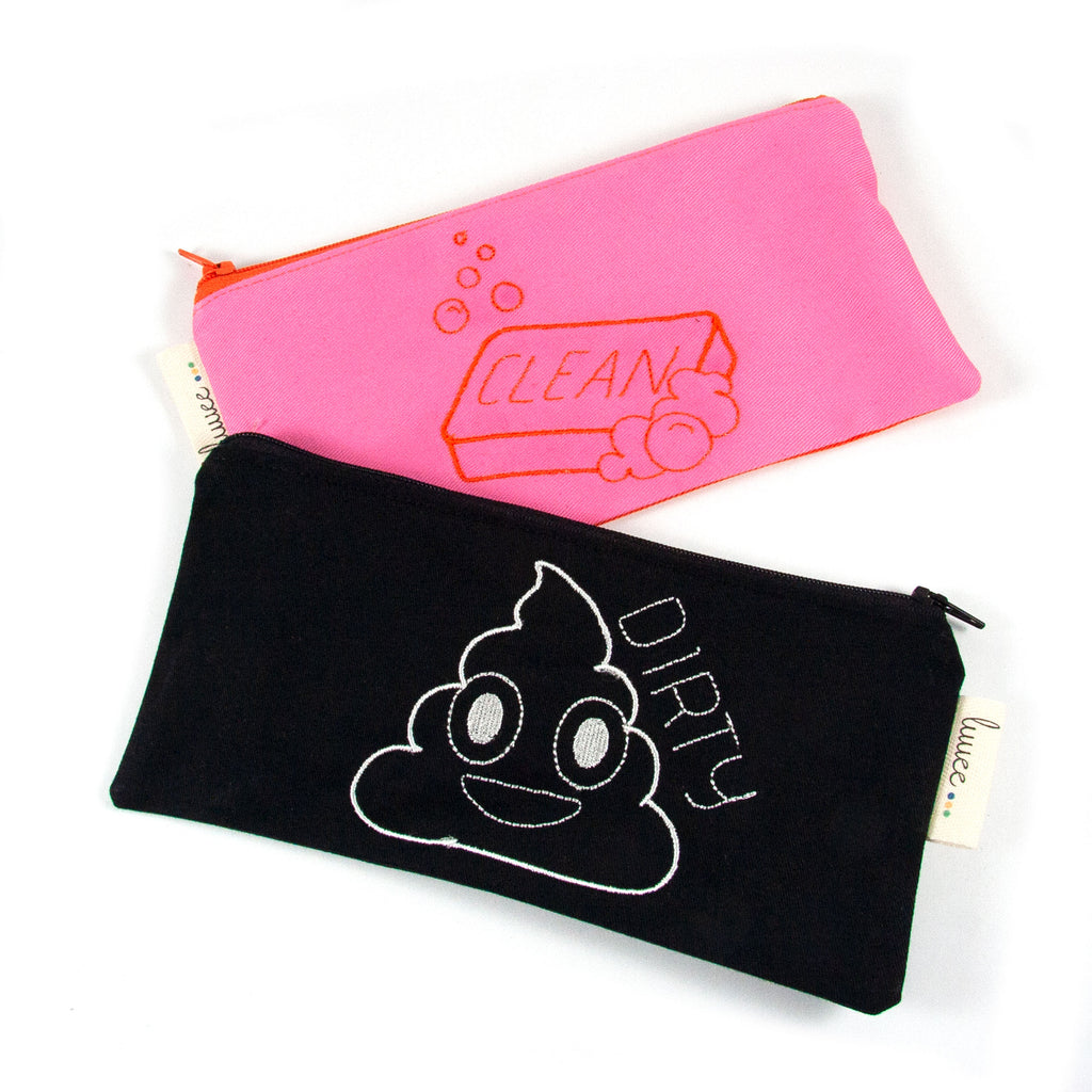 Clean & Dirty Pouch Set - Pink & Orange