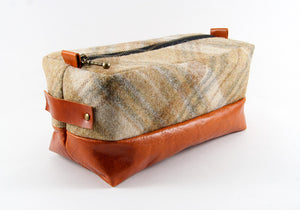Limited Edition Beige Crossed Plaid & Cognac Dopp Kit ONLY - Compact Size