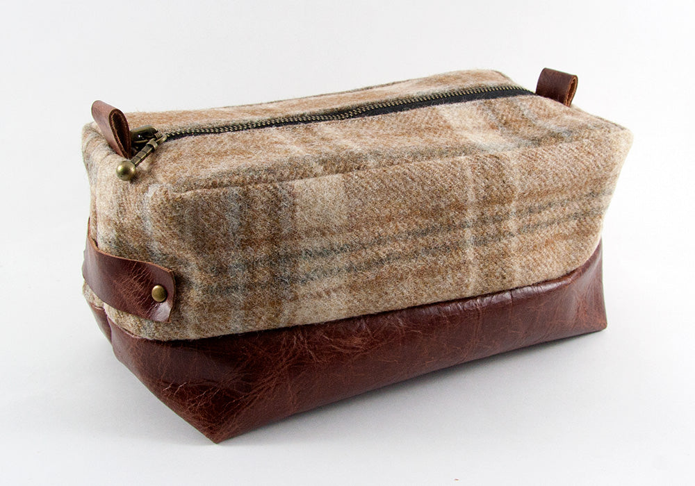 Limited Edition Beige Plaid & Mahogany Dopp Kit ONLY - Compact Size