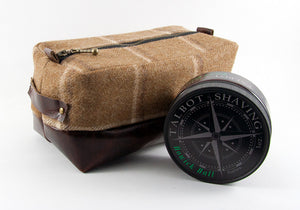 Limited Edition Brown Plaid & Mahogany Dopp Kit - Compact Size + Shave Soap