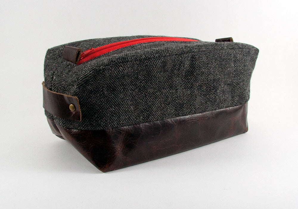 Compact Dopp Kit - Dark Grey Herringbone & Single Malt Red Accent