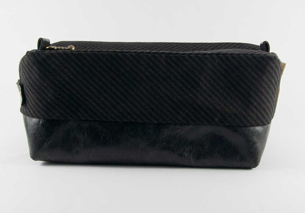 Compact Dopp Kit - Black & Grey Pin Stripes