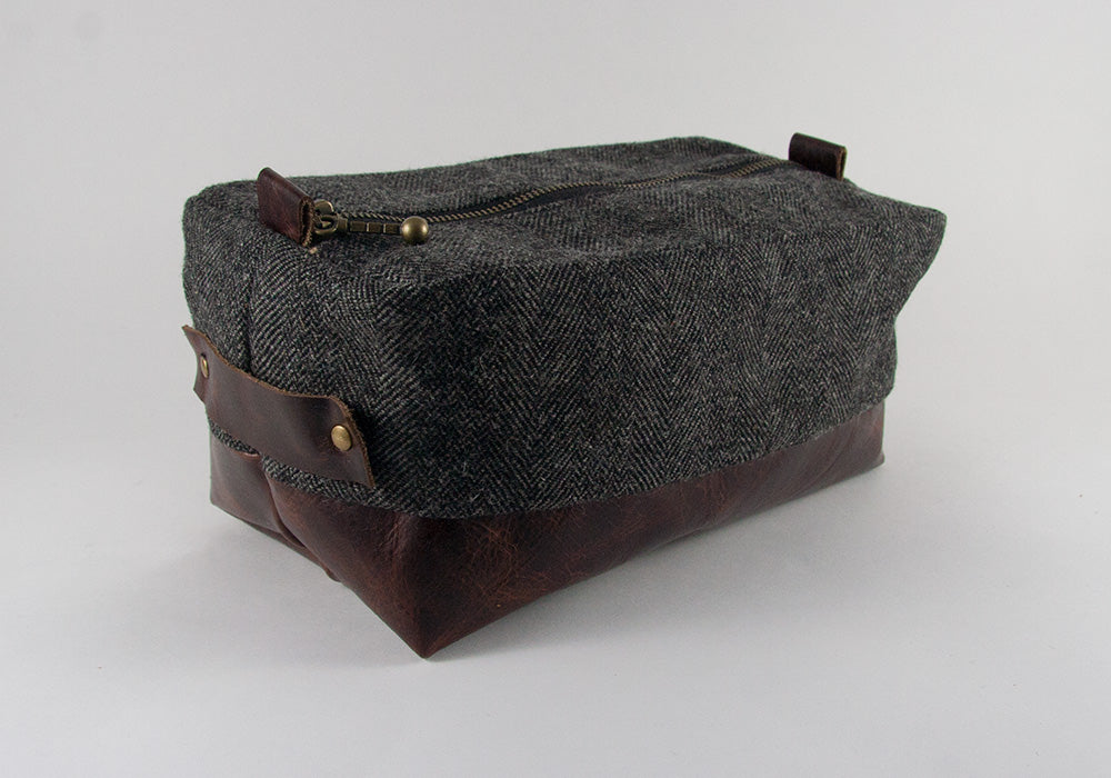 Compact Dopp Kit - Dark Grey Herringbone & Single Malt