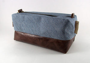 Compact Dopp Kit - Denim & Mahogany
