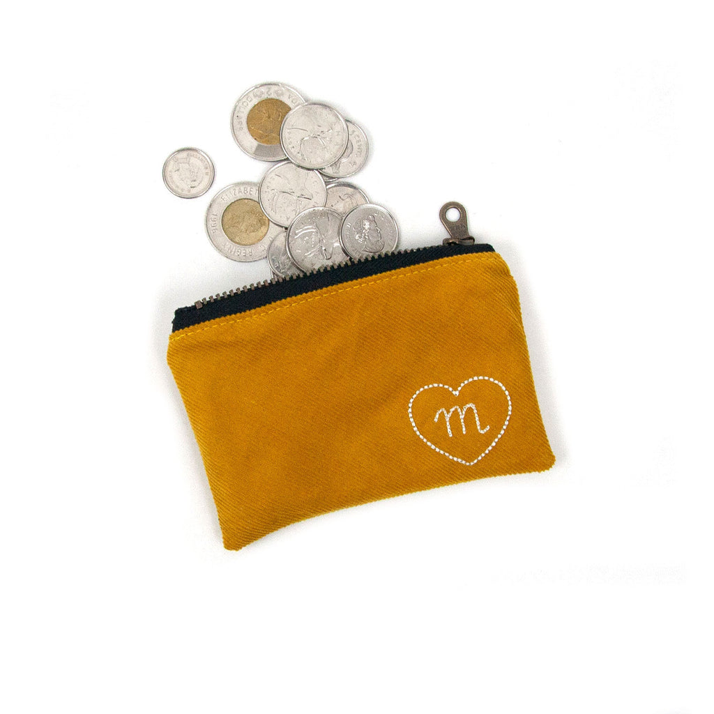 Personalized Coin Purse - Mustard Yellow