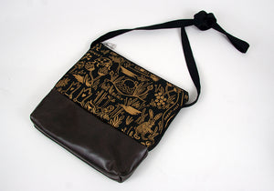 Small Crossbody Bag - Gold Wonderland w Dark Plum Leather
