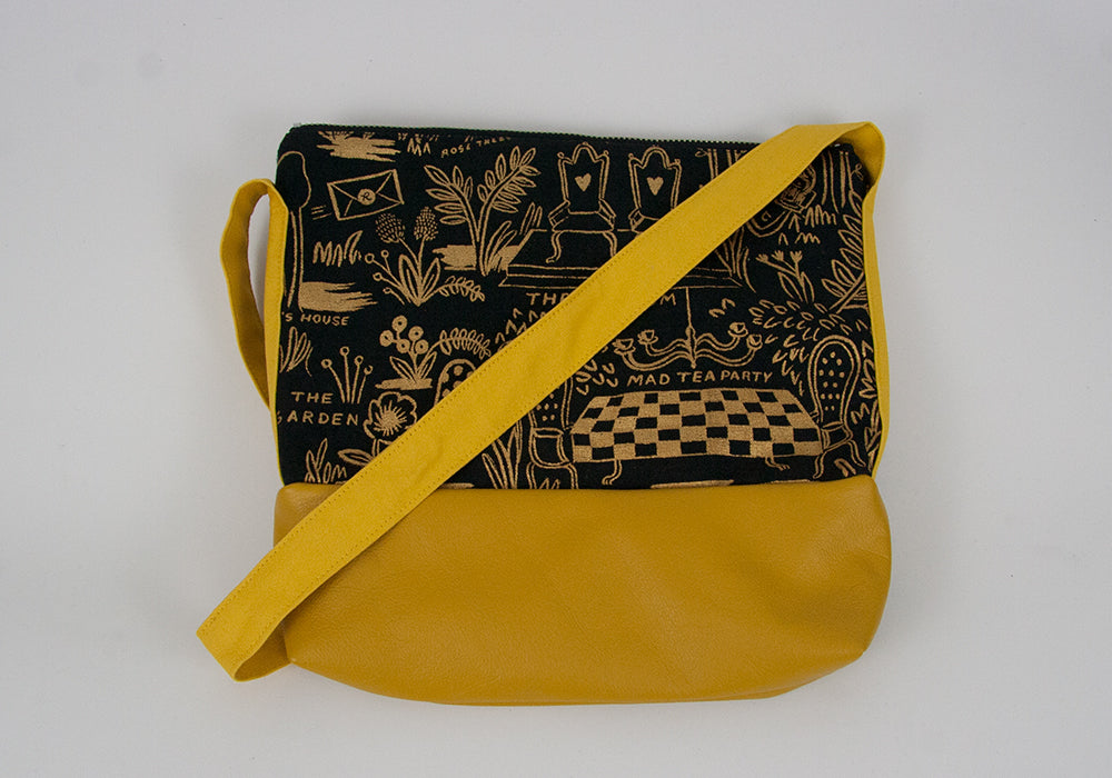 Small Crossbody Bag - Gold Wonderland w Yellow Leather