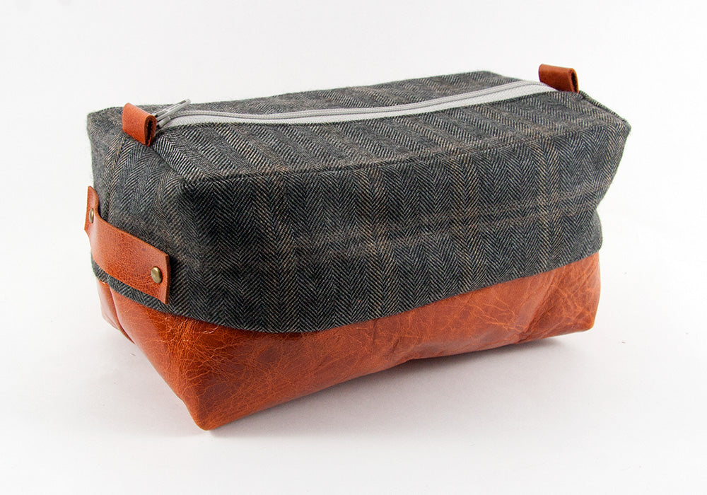 Compact Dopp Kit - Grey Plaid Herringbone and Cognac