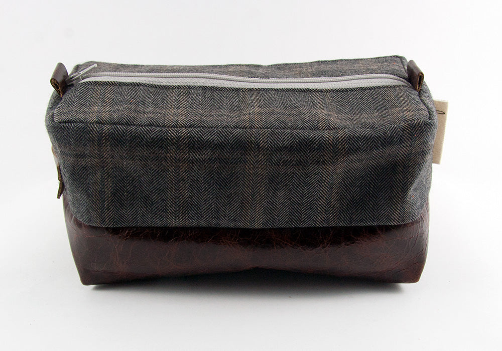 Compact Dopp Kit - Grey Plaid Herringbone and Single Malt