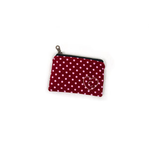 Personalized Coin Purse - Red with Dots
