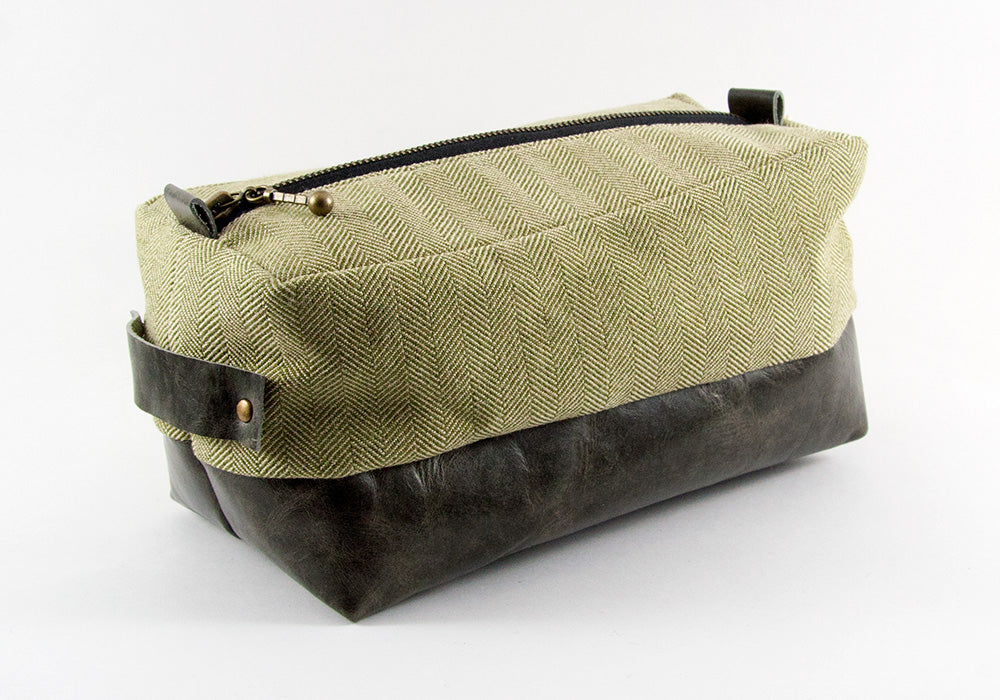 Compact Dopp Kit - Olive Herringbone & Dark Grey