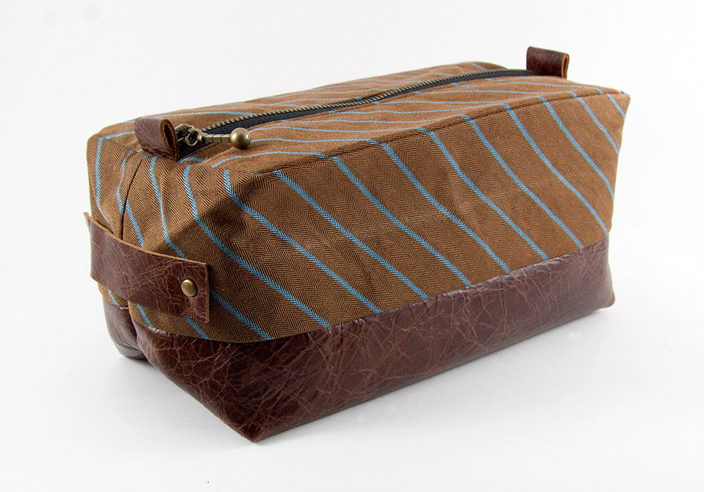 Compact Dopp Kit - Blue Striped Rust Denim & Mahogany