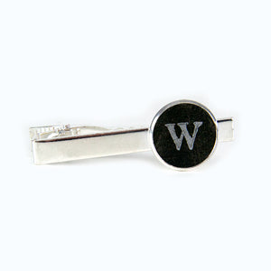 Personalized Silver Cuff Links & Tie Clip Set