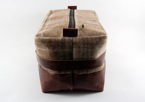 Limited Edition Beige Plaid & Mahogany Dopp Kit - Standard Size + Shave Soap