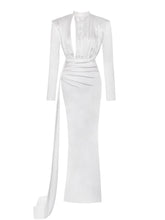 Olivine White Long Satin Gown
