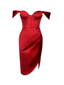 Hedy Red Satin Corset Dress