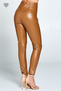 Tan Faux Leather Pants
